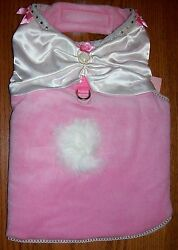 Cha Cha Couture Pink Lil Princess Plush Dog Harness Dress Bow Clothes Chz Size $14.40