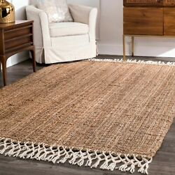 nuLOOM Hand Made Natural Jute and Wool Blend Area Rug with Fringe in Tan $73.99