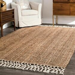 nuLOOM Hand Made Natural Jute and Wool Blend Area Rug with Fringe in Tan $44.99