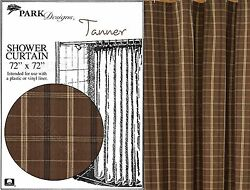 Tanner Shower Curtain by Park Designs Tan Brown & Black Plaid 72x72 One