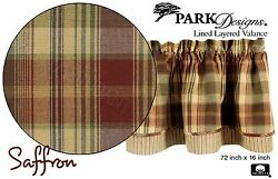 Saffron Layered Valance by Park Designs 72x16 Deep Country Plaid Lined One