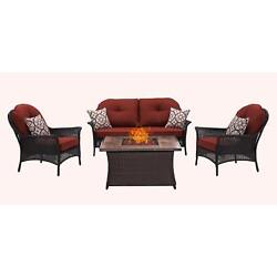 Hanover Outdoor San Marino 4-Piece Fire Pit Lounge Set in Crimson Red