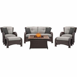 Hanover Outdoor Strathmere 6-Piece Lounge Set in Silver Lining with Fire Pit