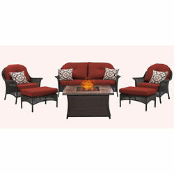 Hanover Outdoor San Marino 6-Piece Fire Pit Lounge Set in Crimson Red