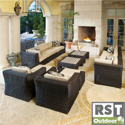 RST Resort Collection 'King Deluxe' Espresso 12-piece Rattan Patio Furniture Set