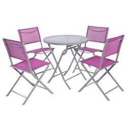 New 5 PCS Bistro Set Garden 4 Folding Chairs Table Outdoor Patio...
