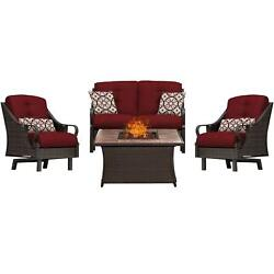 Hanover Outdoor Ventura 4-Piece Fire Pit Chat Set in Crimson Red