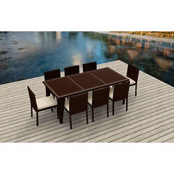Urban Furnishing - 9 Piece Wicker Outdoor Patio Dining Set - BROWN Wicker