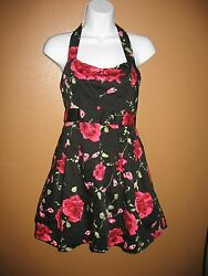 TWENTY ONE DRESS 21 Sz M Medium Black Rose Floral Formal Sleeveless Juniors $16.14