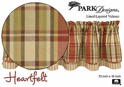 Heartfelt Layered Valance by Park Designs Lined 72x16 Warm Country Plaid One