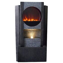Stone Finish Modern Glass Front IndoorOutdoor LED Fireplace Fountain 36 Inch