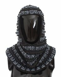 NEW $5400 DOLCE & GABBANA Hood Scarf Hat Gray Cashmere Glass Pearl Beaded Norman