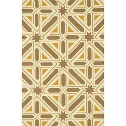 Indoor Outdoor Hand-hooked Geometric Taupe Gold Rug (9'3 x 13')