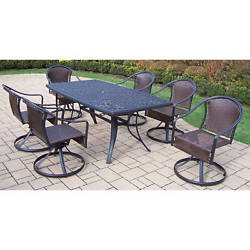 7-piece Outdoor Dining Set with 6 Resin Wicker Swivel Chairs
