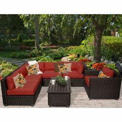 Miseno VENICE-07c-TERRACOTTA 7-Piece Outdoor Furniture Set and Club Chairs