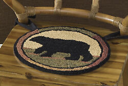 Adirondack Bear Hooked Chair Pad by Park Designs Handcrafted 056-58 14.5 Inch