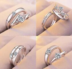 2 pcs 925 Silver Filled White Sapphire Engagement Adjustable Couples Rings Set