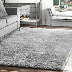 nuLOOM Contemporary Modern Soft Plush Shag Area Rug in Solid Silver Gray $82.99