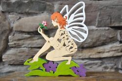 Fairy with Flower Colorful Wooden  Puzzle Amish Scroll Toy  New Decoration
