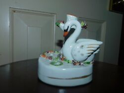 ANTIQUE STAFFORDSHIRE SWAN SPILL VASE QUILL HOLDER INKWELL