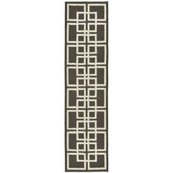 Charcoal Geometric Outdoor Rug (2' x 8') - 2' x 8'