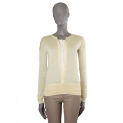 42921 auth HERMES vanilla yellow & white cashmere BUTTON Sweater 34 XXS