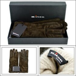 $1295 NIB KITON Italy Brown Genuine Suede Leather Cashmere Wrist Gloves 9 L