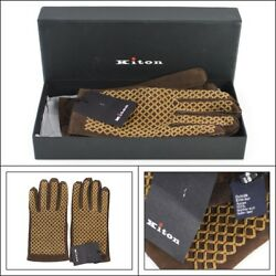 $1295 NIB KITON Italy Brown Woven Suede Leather Cashmere Wrist Gloves 9 L