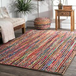 nuLOOM Braided Bohemian Natural Jute and Cotton Blend Area Rug in Multicolor $41.99