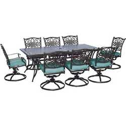 Hanover Outdoor Traditions 9-Piece Dining Set with Eight Swivel Dining Chairs