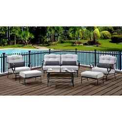 Hanover Oceana Silver Fabric and Black Steel Outdoor 6-piece Patio Set