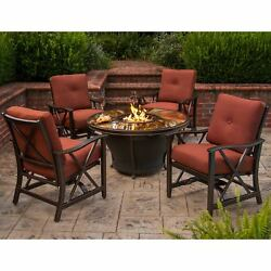 Premium Sunlight 5-piece Chat Set with Gas Fire Pit Table Glass Beads Cover