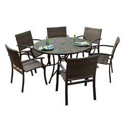 Stone Harbor Large Round Dining Table and Newport Arm Chairs 7-piece Outdoor