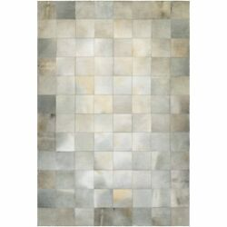 Couristan Chalet Tile Ivory Cowhide Leather Area Rug - 9'4 x 13'4