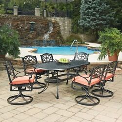 Biscayne Black Oval 7 Pc Outdoor Dining Table & 6 Swivel Rocking Chairs with