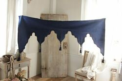 Antique French damask lambrequin valance textile blue wool passementerie