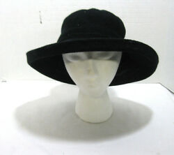 Women#x27;s Wide Brim Knit Black Bucket Hat W Inside String Adjuster Lined Sun Beach $12.95