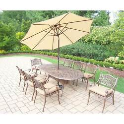 Dakota Outdoor Patio Dining Set with Table 8 Cushioned Chairs 9 ft Beige