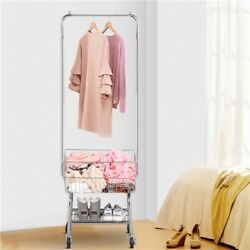 Garment Organizer Laundry Cart Commercial With Double Pole Rack Hamper US