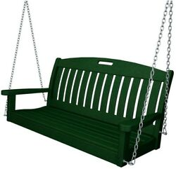48 in Green Patio Swing Wooden Chair Sturdy Porch Seat Outdoor Garden Furniture