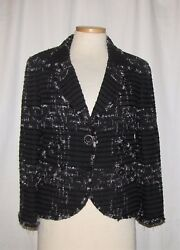 CHANEL BlkWht Ribbon Tweed Dangling Chain Accents Beaded Trim 1-Button Jkt 44
