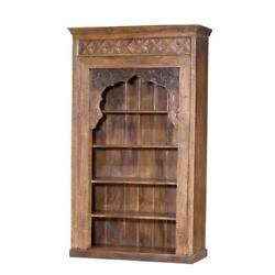 Rustic Vintage Style Carved Wood BookcaseCabinet100''tall.