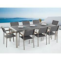 Outdoor Dining Set for 8 - Black Granite Table Top - Grey Chairs - GRESSO