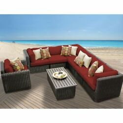 Miseno VENICE-08b-TERRACOTTA 8-Piece Outdoor Furniture Set and Club Chairs