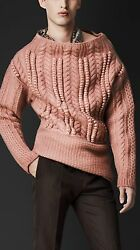 BURBERRY PRORSUM RUNWAY LANA MEN'S SHALE PINK CHUNKY CABLE SWEATER  ITALY SIZE S