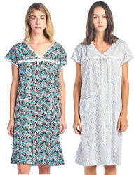 Casual Nights Women#x27;s Cotton Floral Short Sleeve Nightgown $12.99