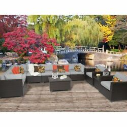 Miseno BELLE-11a-GREY Anabelle 11-Piece Outdoor Furniture Sets and Club Chairs