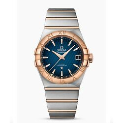 NEW Omega Constellation Steel Red Gold 38mm Blue Dial Watch 123.20.38.21.03.001
