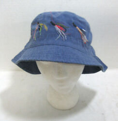 Blue Foldable Fishing Hat Boonie Bush w Lures Embroidered Lined Brimmed Camping $11.21
