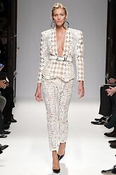 Balmain Runway Guipure Lace Nude White Jacket Dress Blazer BNWT UK 10 FR38 £6995